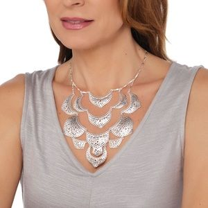 Stella & Dot Plait Silvertone Necklace